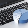 Laptop with blue round chart — Stock Photo #31736325