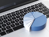 Laptop with blue round chart — Stock Photo