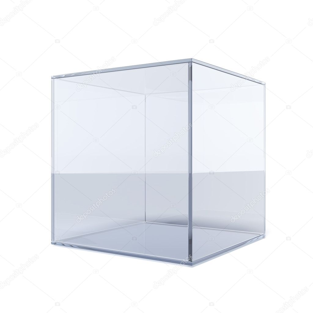 Lege glazen kubus stockfoto 31739315 - Driedimensionale spiegel ...