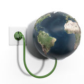 Earth attached to electrical socket — Stock Photo
