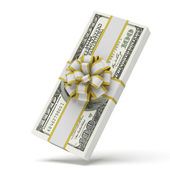 Dollars with decorative bow — Stock Photo