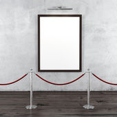 Gallery with stand barriers and blank frame — Stock Photo