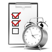Clipboard with checklist and alarm clock — Foto de Stock