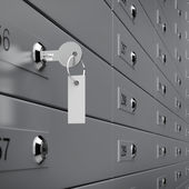 Deposit box with key — Stock Photo