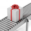 Gift on the line — Stock Photo
