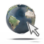 Cursor and Globe. Earth map provided by NASA — Stock Photo