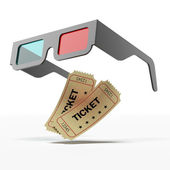 Stereo glasses and movie tickets — Stock Photo