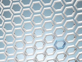 White honey combs whith blue hexagon — Stock Photo