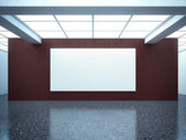 Bright empty gallery interior with red wall — Foto Stock