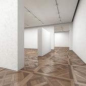 Empty art gallery with wooden floor — Stock Photo