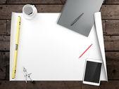 документы с зарисовками на столе — Стоковое фото
