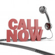 Text call now and phone — Stock Photo