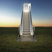 Escalator to the sky in night field — Stock Photo