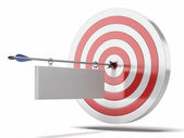 Target and arrow with plate — Stock Photo