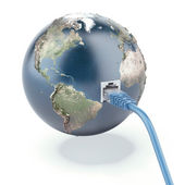 Ethernet connected globe — Stock Photo