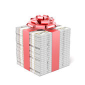 Money gift. Dollar bills — Stock Photo