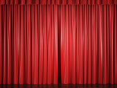 Red curtains with a bright spot — Stock Photo