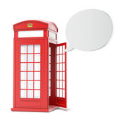 British red phone booth with speech bubble — Stock Photo