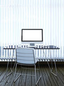 Interior with computer and blinds on window — Stock Photo