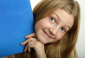 Pretty Girl with Blue Book — Stock Photo