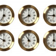 Six Clocks Showing Different Time — Stock Photo #13327935