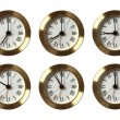 Six Clocks Showing Different Time — Stock Photo
