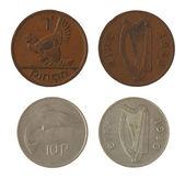 Old Irish Coins Isolated on White — Stock Photo