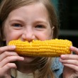 Stock Photo: Young Girl Eating Corn