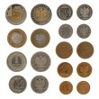 Set of Polish Zloty coins isolated on white - Stock Photo