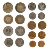 Set of Polish Zloty coins isolated on white — Stock Photo
