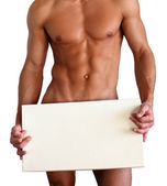 Naked Muscular Man Covering with Box Isolated on White — Stock Photo