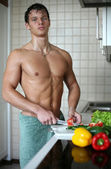 Sexy Man at the Kitchen — Stock Photo
