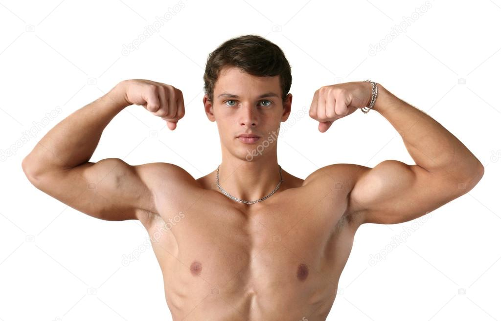 Young muscular man flexing his biceps isolated on white