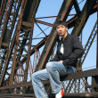 Asian Man on the Bridge — Stockfoto