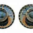 Prague Astronomical Clock Isolated on White - Stock Photo