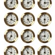 12 Clocks Showing Different Time — Stock Photo #13568199