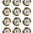 12 Clocks Showing Different Time — Stock Photo