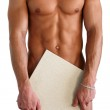 Naked Muscular Torso Covering Copy Space Box — Stock Photo #13568207