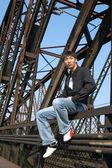 Asian Man on the Bridge — Stock Photo