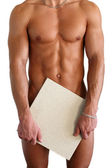 Naked Muscular Torso Covering Copy Space Box — Stock Photo