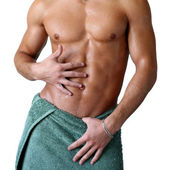 Wet Muscular Torso Wrapped in Towel — Stock Photo