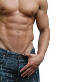 Muscular Male Torso Isolated on White — Stock Photo