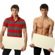 Two Young Sexy Men with Copy Space Blank Banner — Stock Photo #48556051