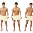 Three Naked Men Covering with a Blank Sign — Stock Photo #48556147