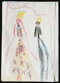 King and Queen. Child's Drawing.  — Stock Photo