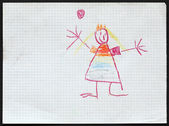 Princess. Child's Drawing.  — Stock Photo