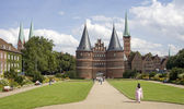 Holsten gate in the beatiful city of Lubeck. — Stock Photo