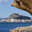 Alicante city view with Santa Barbara castle - Stock Photo