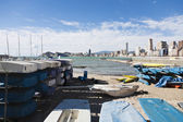 Moored boats in Benidorm — Stock Photo