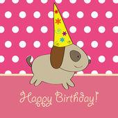 Puppy birthday card design — Stock Vector
